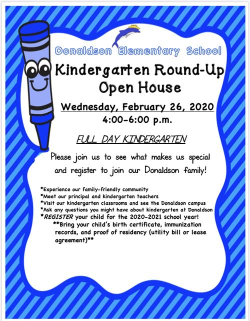 Kindergarten Round-Up and Open House: February 26 from 4:00-6:00 p.m.