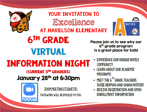 Harelson 6th Grade Information Night (Virtual) Jan. 28