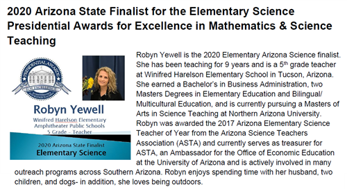 Congratulations Mrs. Yewell - Finalist for Presidential Award for Excellence