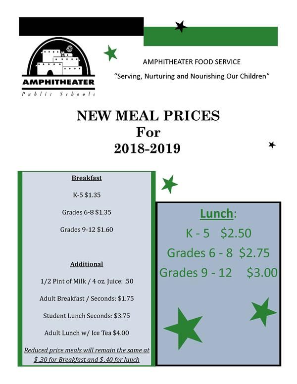 Please Note: Meal Price Changes for 2018-2019