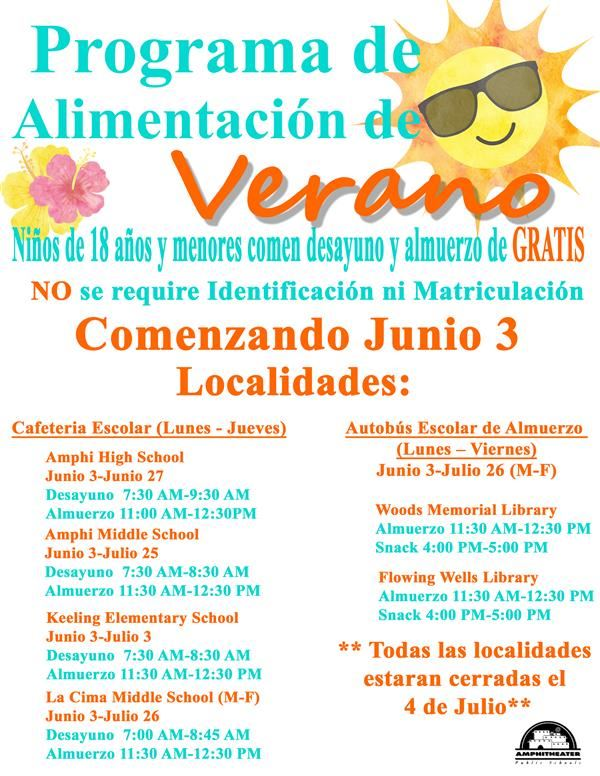 summer meal program Spanish