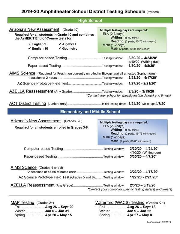 Assessment Testing Schedule
