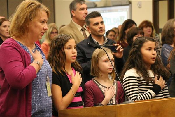 Wilson Students Lead the Pledge of Allegiance at Governing Board Meeting