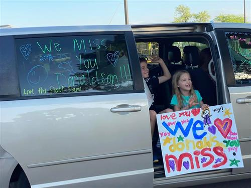 Donaldson Elementary's Drive-By and Wave 'Hi' parade