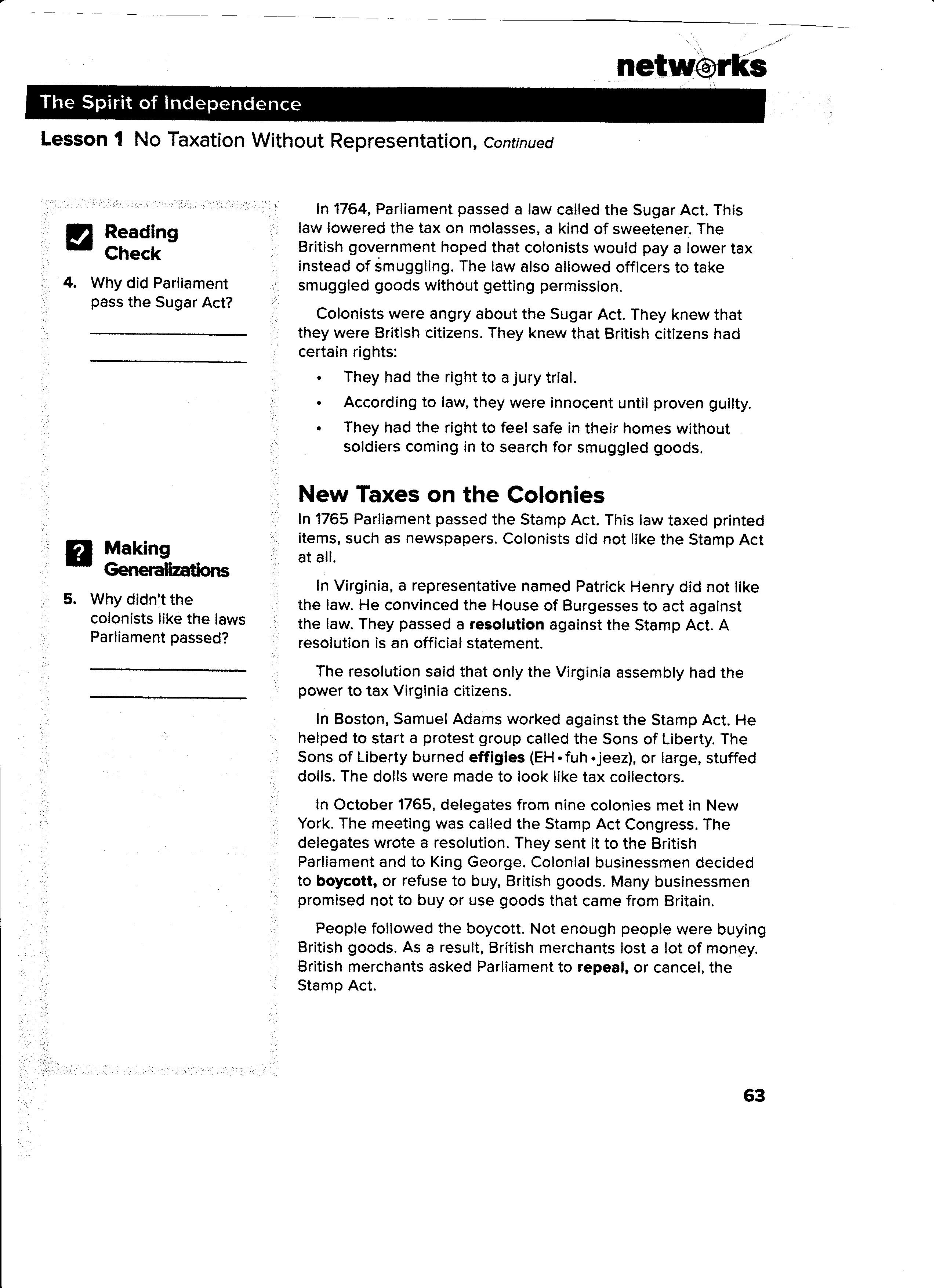 obregon jose notes assignments lesson 1 no taxation out representation page 62