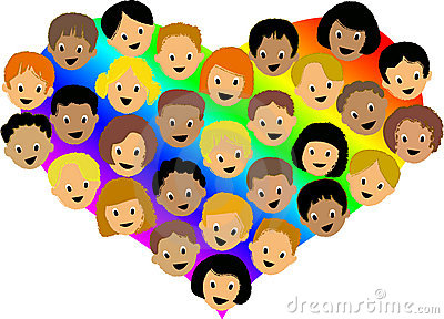 Multiracial heart of kids
