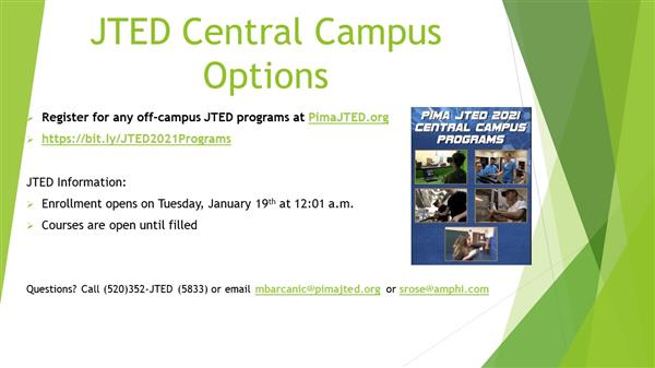 JTED 2021 Central Campus Options