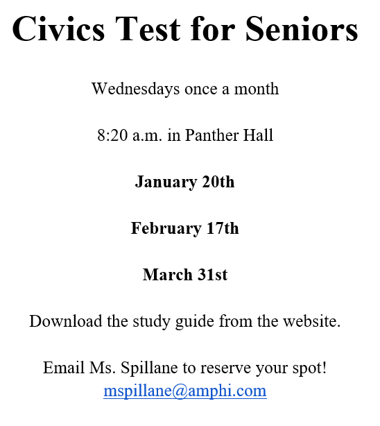 Click here to get links to the study guide for the Civics Test For Seniors