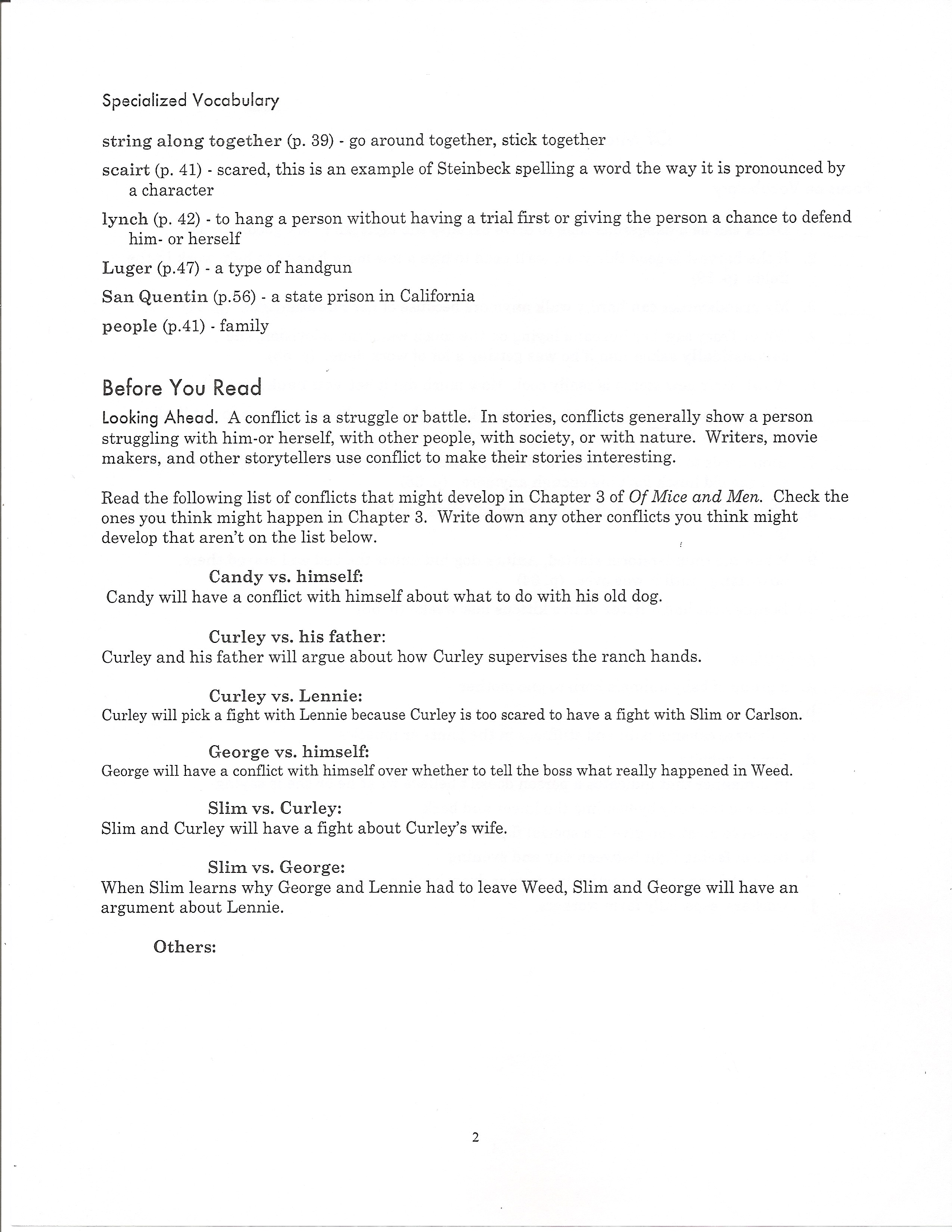 worksheet Of Mice And Men Movie Worksheet nicley camille of mice and men chapter three page two