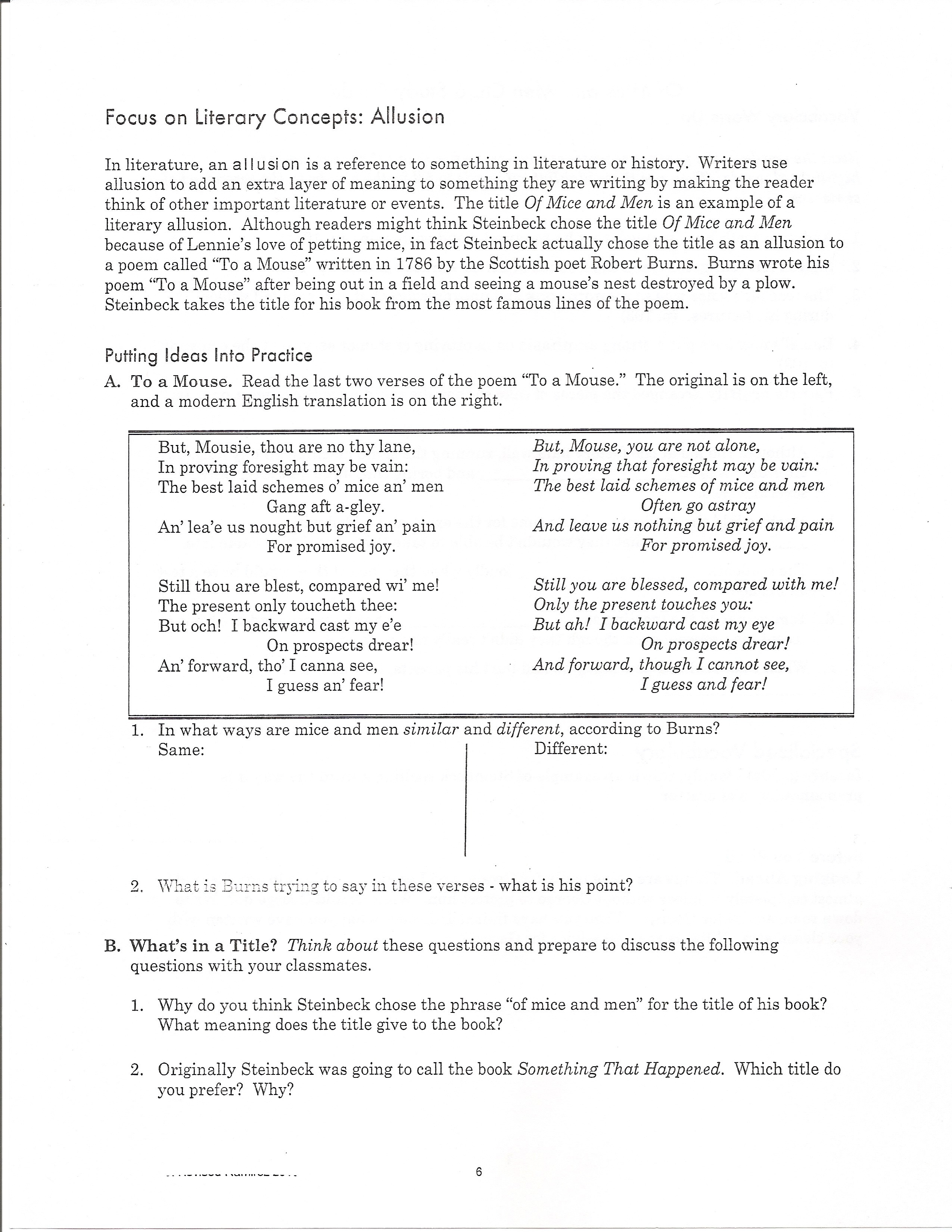 Worksheets Of Mice And Men Worksheet nicley camille of mice and men chapter five page six